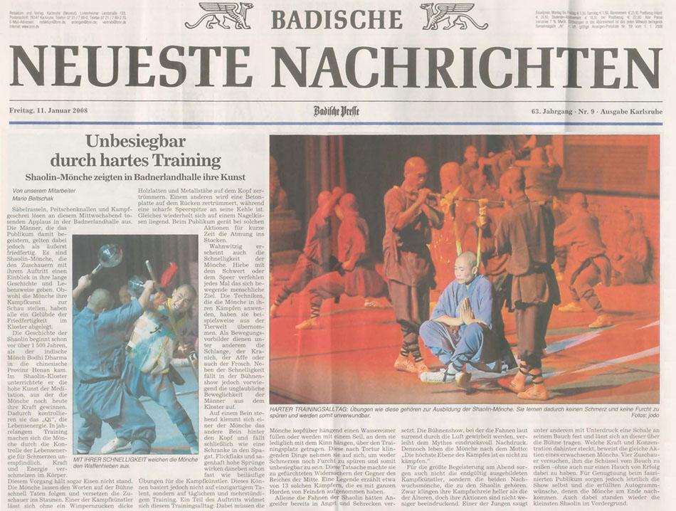 Pressespiegel 2008 die r ckkehr der shaolin die kung for Zeitung spiegel